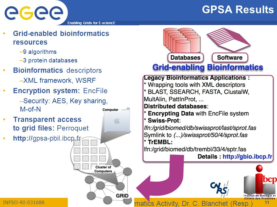 Enabling Grids for E-sciencE INFSO-RI-031688 EGEE Bioinformatics Activity, Dr. C. Blanchet (Resp.) 11 Grid-enabled bioinformatics resources –9 algorit