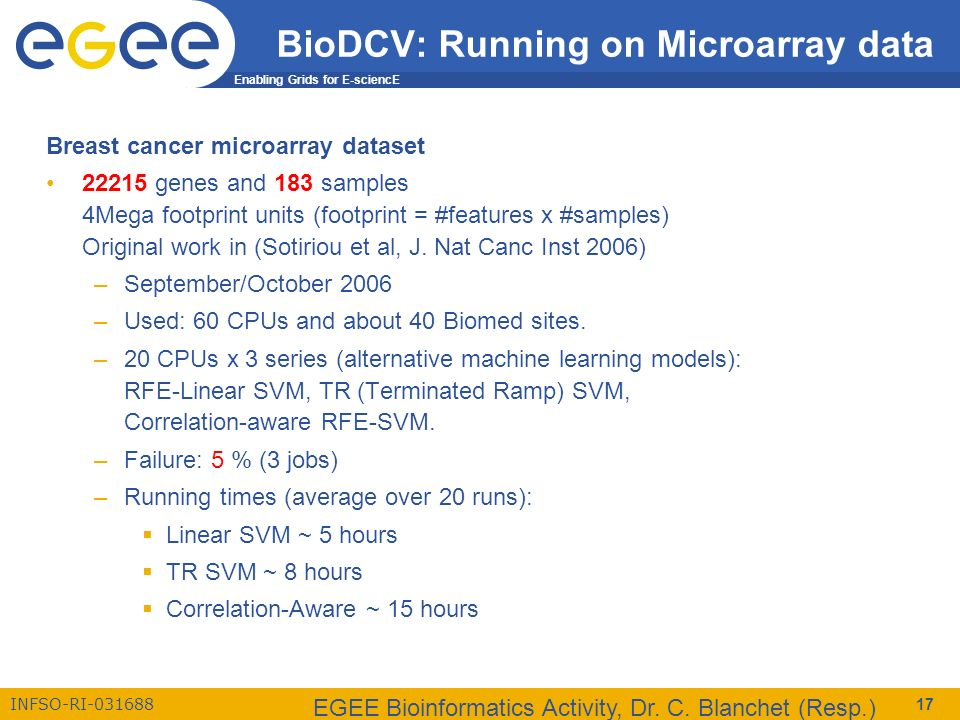 Enabling Grids for E-sciencE INFSO-RI-031688 EGEE Bioinformatics Activity, Dr. C. Blanchet (Resp.) 17 BioDCV: Running on Microarray data Breast cancer