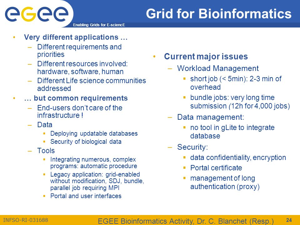 Enabling Grids for E-sciencE INFSO-RI-031688 EGEE Bioinformatics Activity, Dr. C. Blanchet (Resp.) 24 Grid for Bioinformatics Very different applicati