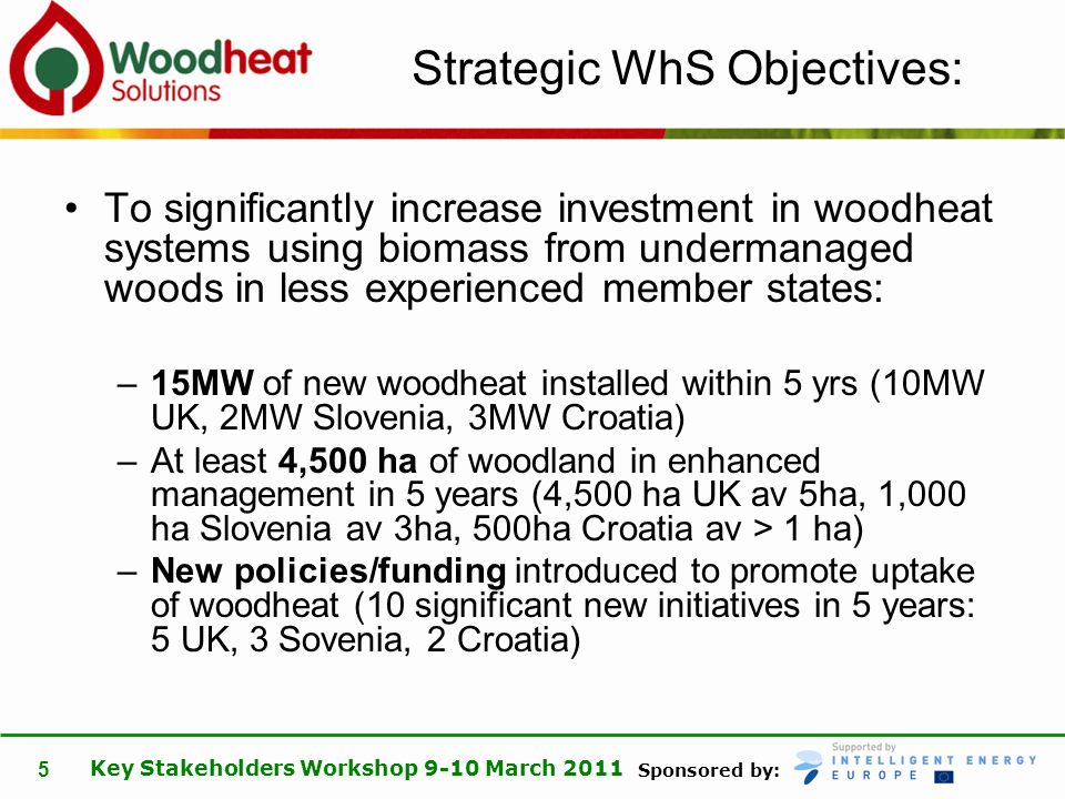 Sponsored by: Key Stakeholders Workshop 9-10 March 2011 5 Strategic WhS Objectives: To significantly increase investment in woodheat systems using bio