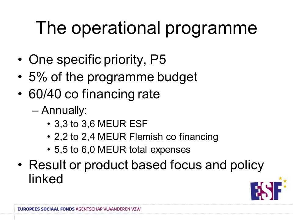 The operational programme One specific priority, P5 5% of the programme budget 60/40 co financing rate –Annually: 3,3 to 3,6 MEUR ESF 2,2 to 2,4 MEUR