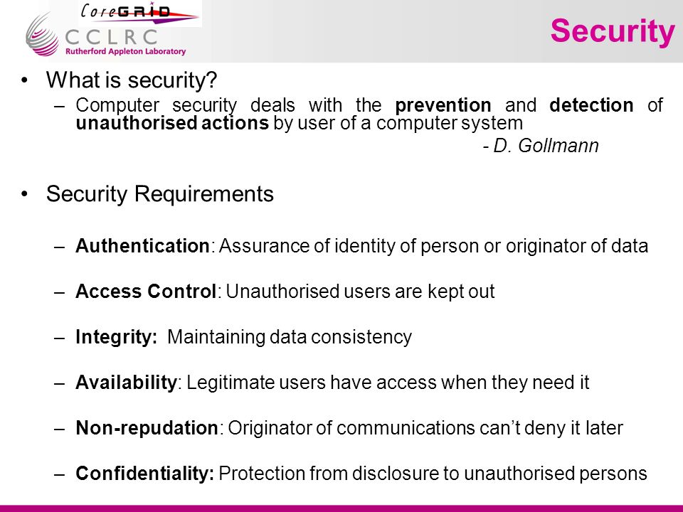 VO Lifecycle: Identification Identification Formation OperationDissolution VO Identification Analyse BP template, identify roles and deduce VO security requirements Select collection of service providers matching these requirements (incl.