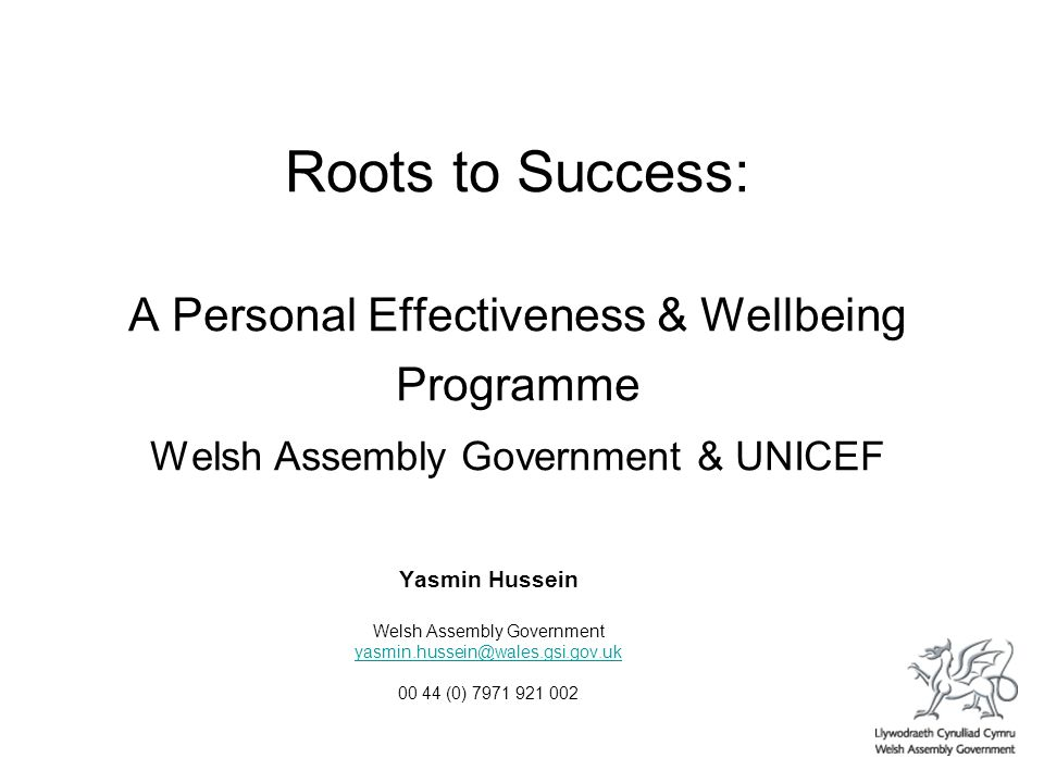 Roots to Success: A Personal Effectiveness & Wellbeing Programme Welsh Assembly Government & UNICEF Yasmin Hussein Welsh Assembly Government yasmin.hussein@wales.gsi.gov.uk 00 44 (0) 7971 921 002