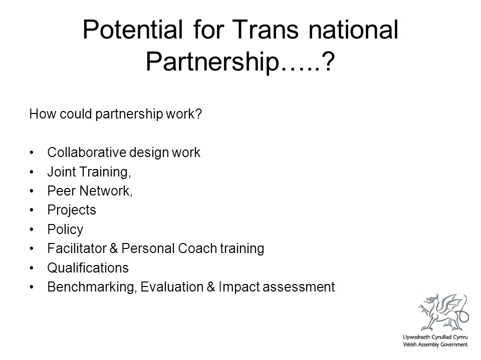 Potential for Trans national Partnership…..? How could partnership work? Collaborative design work Joint Training, Peer Network, Projects Policy Facil