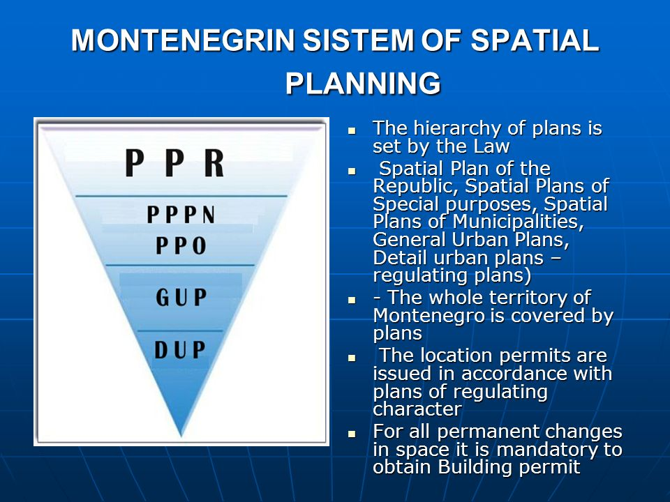 MONTENEGRIN SISTEM OF SPATIAL PLANNING The hierarchy of plans is set by the Law The hierarchy of plans is set by the Law Spatial Plan of the Republic,