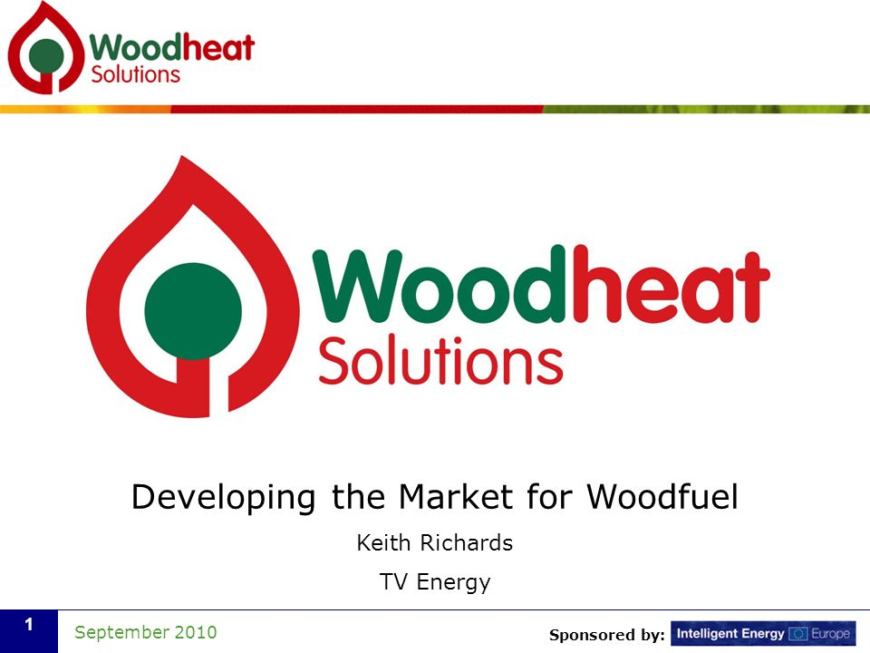 Sponsored by: September 2010 1 Developing the Market for Woodfuel Keith Richards TV Energy