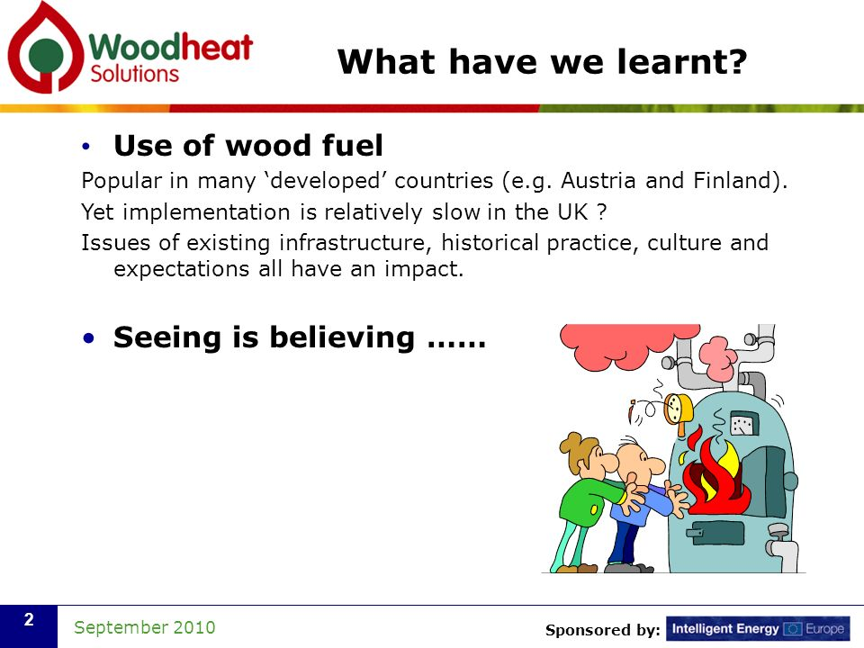 Sponsored by: September 2010 2 What have we learnt? Use of wood fuel Popular in many developed countries (e.g. Austria and Finland). Yet implementatio