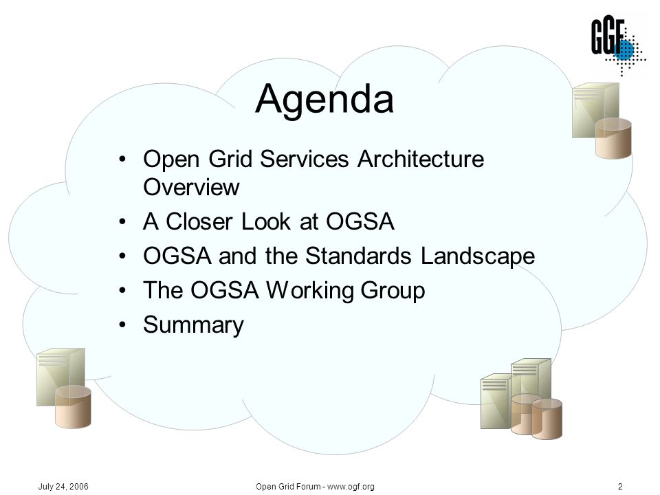 July 24, 2006 Open Grid Forum - www.ogf.org2 Agenda Open Grid Services Architecture Overview A Closer Look at OGSA OGSA and the Standards Landscape Th
