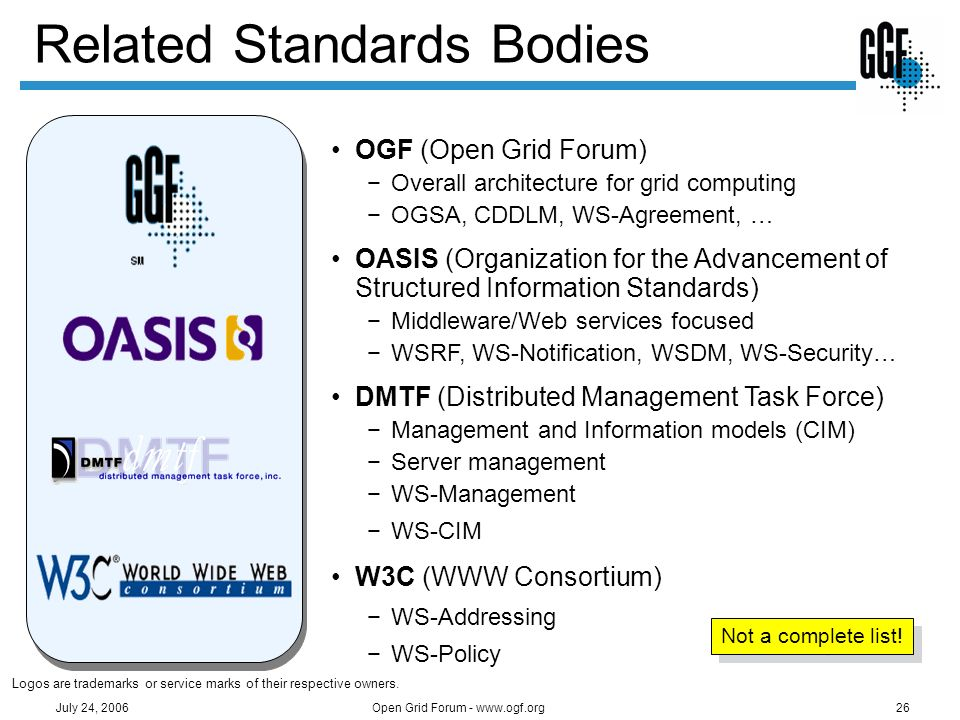 Open Grid Forum - www.ogf.org26 July 24, 2006 Related Standards Bodies OGF (Open Grid Forum) Overall architecture for grid computing OGSA, CDDLM, WS-A