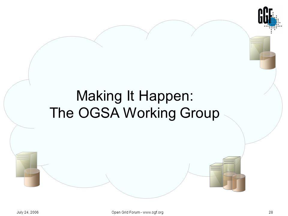 July 24, 2006 Open Grid Forum - www.ogf.org28 Making It Happen: The OGSA Working Group
