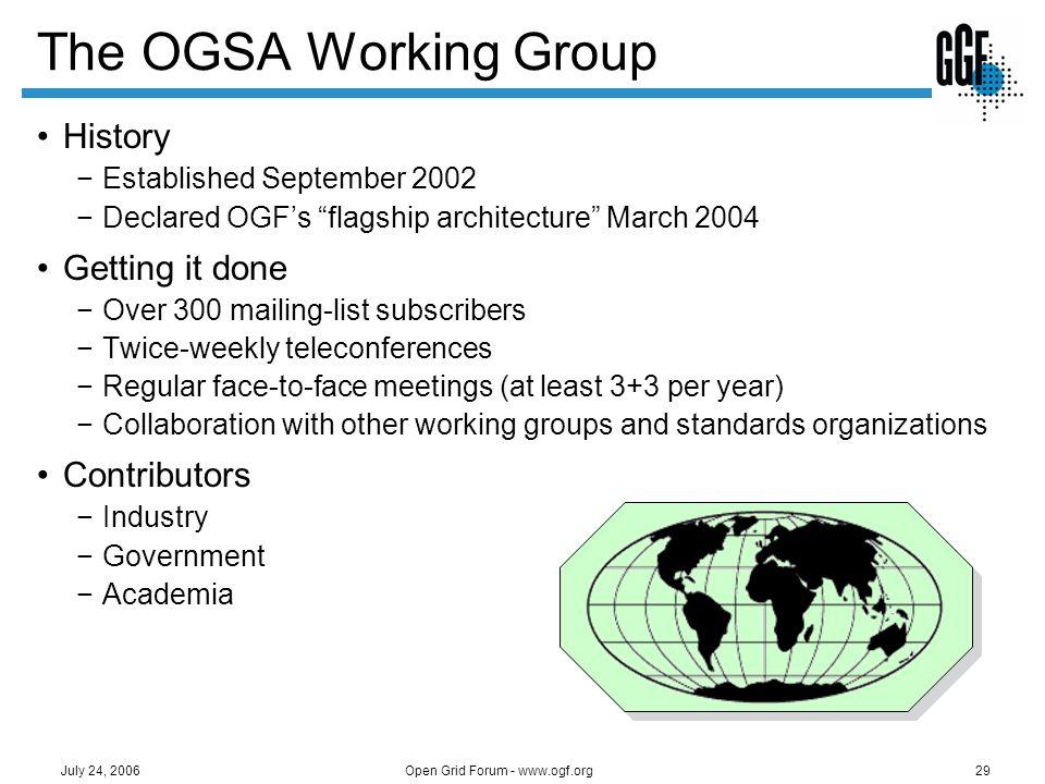 Open Grid Forum - www.ogf.org29 July 24, 2006 The OGSA Working Group History Established September 2002 Declared OGFs flagship architecture March 2004