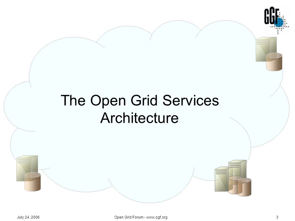 Open Grid Forum - www.ogf.org34 July 24, 2006 Published OGSA Documents 20062005 Base document Service description Profile Specification 2004 Architecture V1.0 (GFD-I.30) Glossary V1.0 (GFD-I.44) Resource Management (GFD-I.45) Architecture V1.0 (GFD-I.30) Glossary V1.0 (GFD-I.44) Resource Management (GFD-I.45) Use Cases (GFD-I.29) Roadmap (GFD-I.53) JSDL (GFD-R-P.56) Profile Definition (GFD-I.59) Guideline