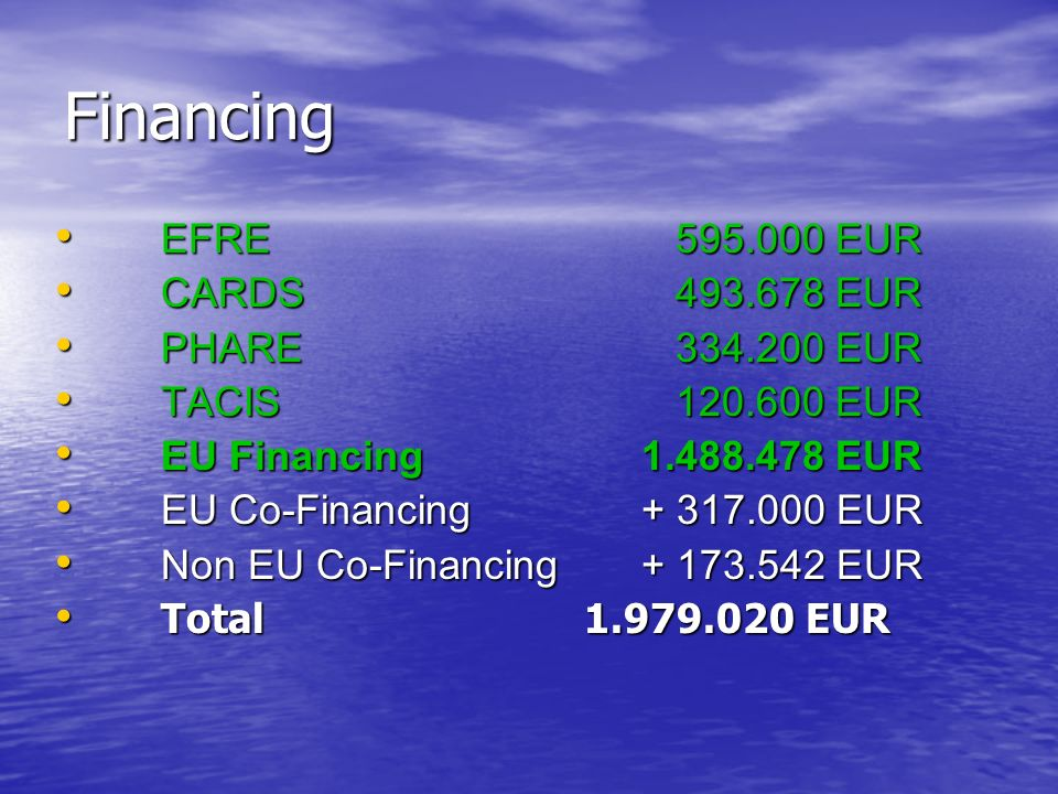 Financing EFRE 595.000 EUR EFRE 595.000 EUR CARDS 493.678 EUR CARDS 493.678 EUR PHARE 334.200 EUR PHARE 334.200 EUR TACIS 120.600 EUR TACIS 120.600 EU