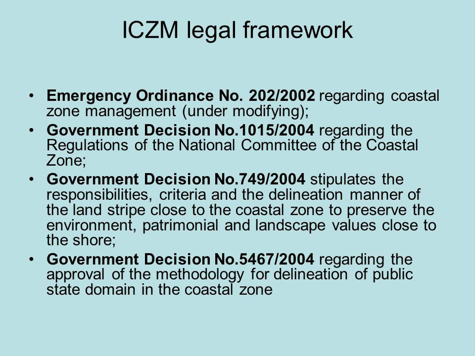 Integrated Coastal Zone Management in Romania -Romania is the only Black Sea country having special legal and institutional framework for ICZM -Cooperation with the Black Sea Commission is provided through the ICZM Advisory Group -The ICZM process in Romania facilitates the implementation of the EC ICZM Recommendation, WFD and other water related Directives -Instrument for ensuring sustainable development in the Coastal Zone -Draft ICZM strategy (and other documents) are prepared -More than 70% of the Romanian coastline has a protected status (Danube delta biosphere reserve etc.)