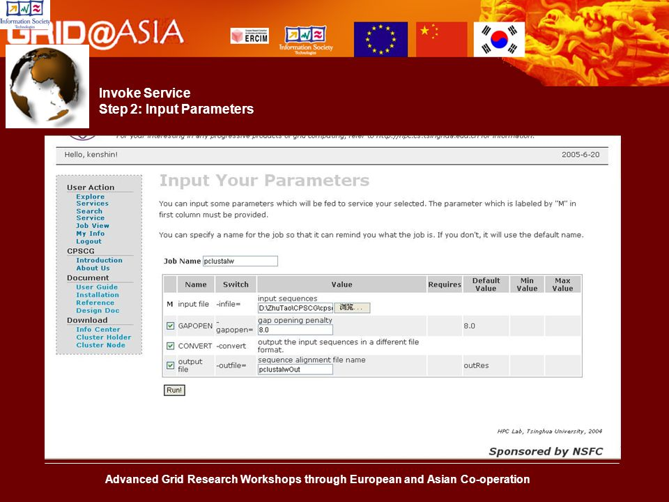 Advanced Grid Research Workshops through European and Asian Co-operation Invoke Service Step 2: Input Parameters