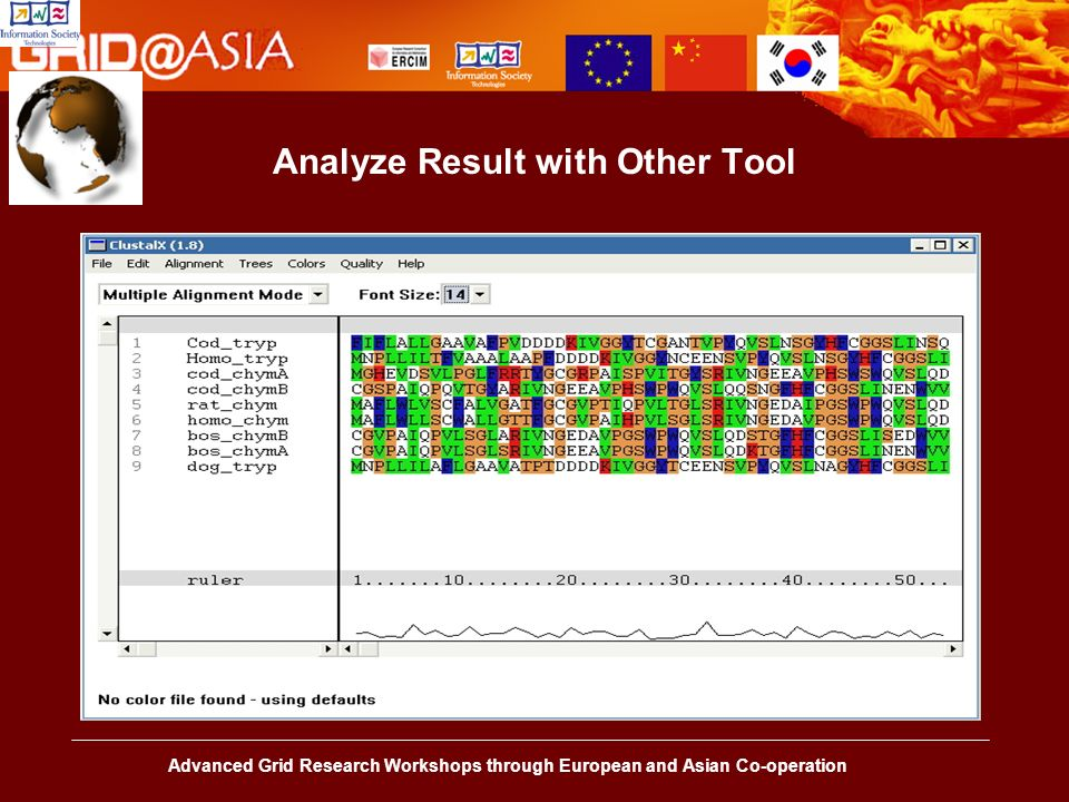Advanced Grid Research Workshops through European and Asian Co-operation Analyze Result with Other Tool