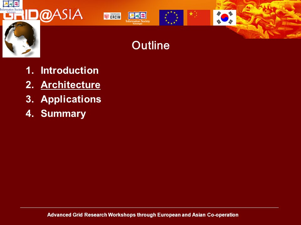 Advanced Grid Research Workshops through European and Asian Co-operation Outline 1.Introduction 2.Architecture 3.Applications 4.Summary