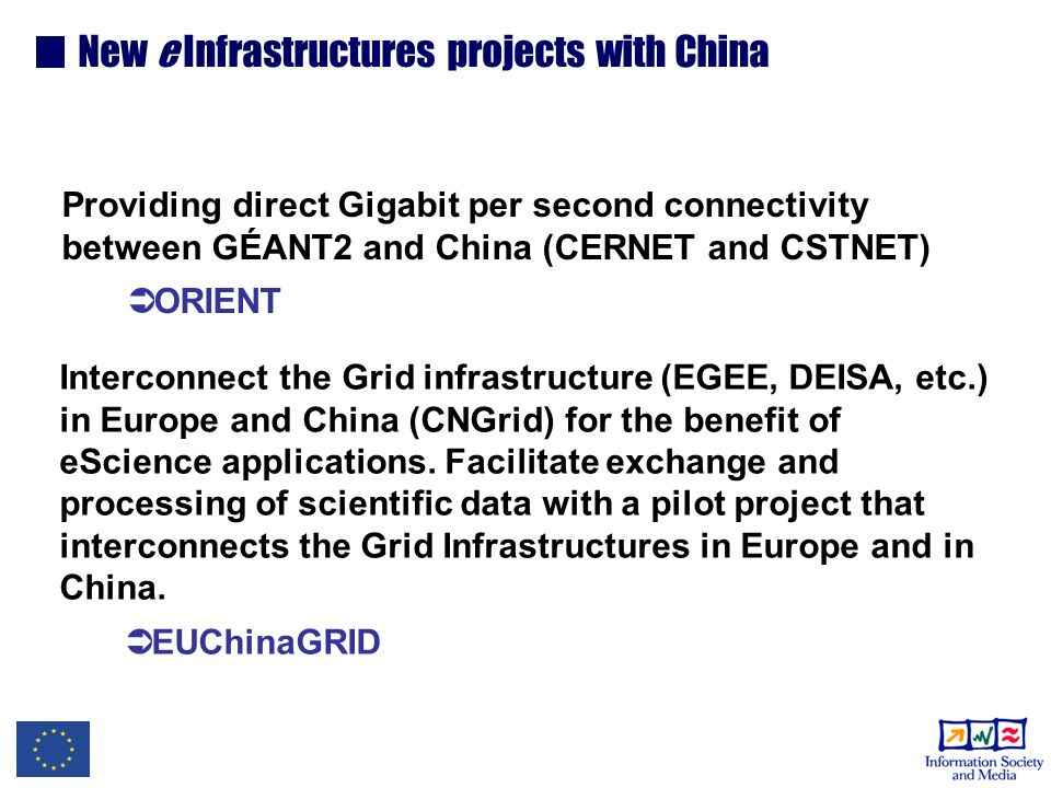Providing direct Gigabit per second connectivity between GÉANT2 and China (CERNET and CSTNET) ORIENT Interconnect the Grid infrastructure (EGEE, DEISA, etc.) in Europe and China (CNGrid) for the benefit of eScience applications.