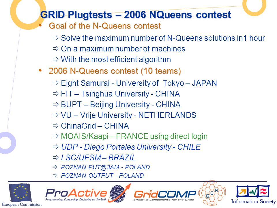 European Commission Directorate-General Information Society Unit F2 – Grid Technologies GRID Plugtests – 2006 NQueens contest Goal of the N-Queens contest Goal of the N-Queens contest Solve the maximum number of N-Queens solutions in1 hour On a maximum number of machines With the most efficient algorithm 2006 N-Queens contest (10 teams) 2006 N-Queens contest (10 teams) Eight Samurai - University of Tokyo – JAPAN FIT – Tsinghua University - CHINA BUPT – Beijing University - CHINA VU – Vrije University - NETHERLANDS ChinaGrid – CHINA MOAIS/Kaapi – FRANCE using direct login UDP - Diego Portales University - CHILE LSC/UFSM – BRAZIL POZNAN PUT@3AM - POLAND POZNAN OUTPUT - POLAND
