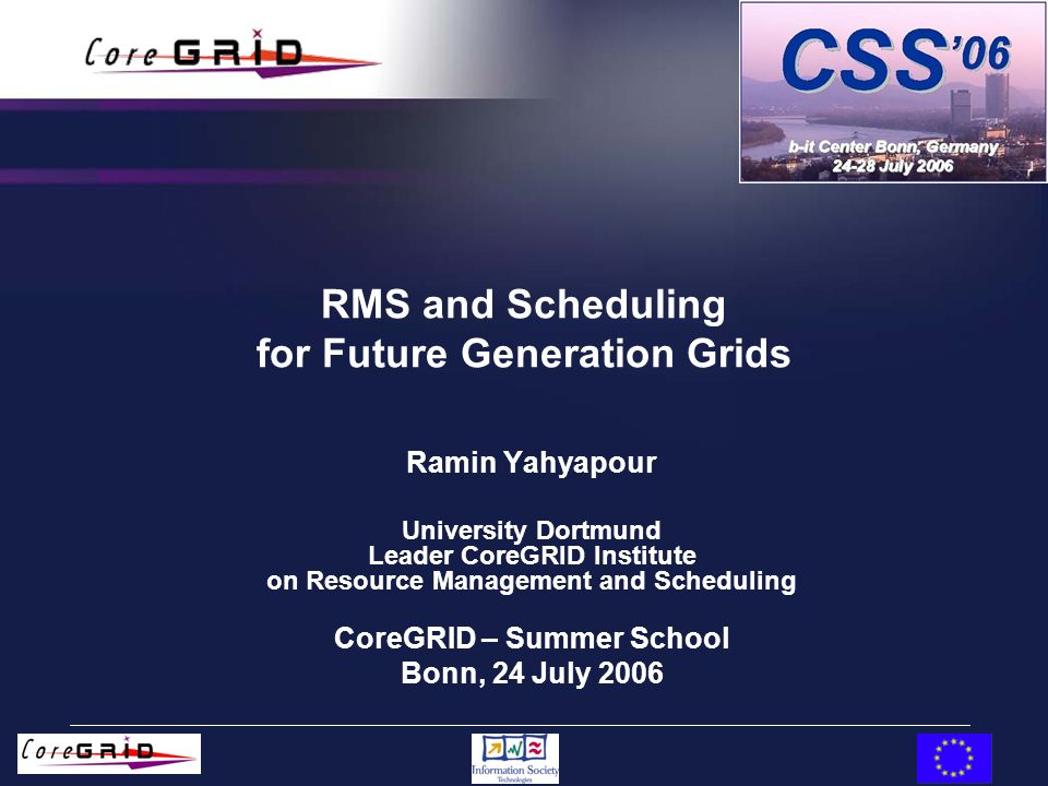 RMS and Scheduling for Future Generation Grids Ramin Yahyapour University Dortmund Leader CoreGRID Institute on Resource Management and Scheduling Cor