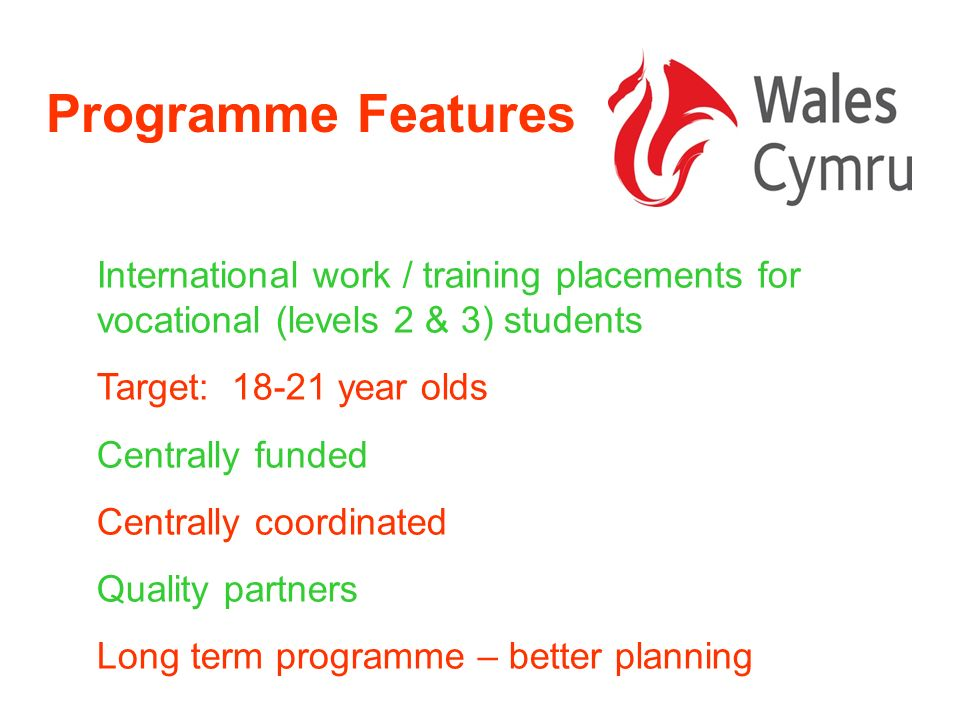 Welsh Partners Working with institutions over the last 18 months 2007/08 Pilot Programme Mapping – which colleges doing what internationally?