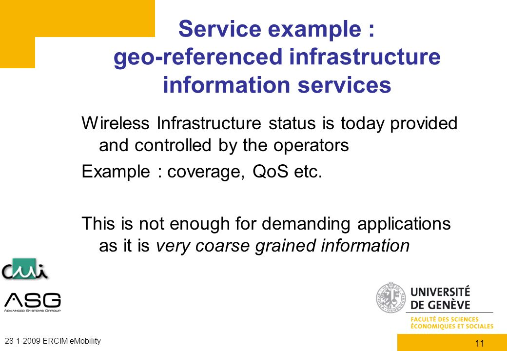 11 28-1-2009 ERCIM eMobility Service example : geo-referenced infrastructure information services Wireless Infrastructure status is today provided and
