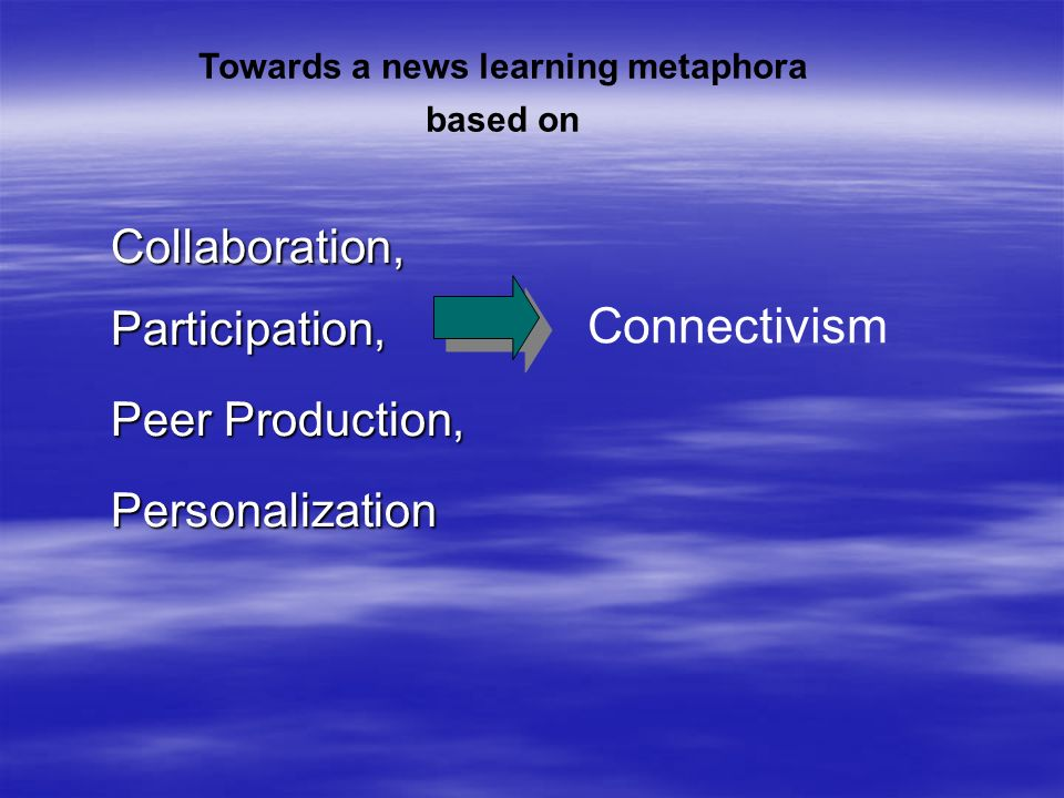 Collaboration,Participation, Peer Production, Personalization Towards a news learning metaphora based on Connectivism