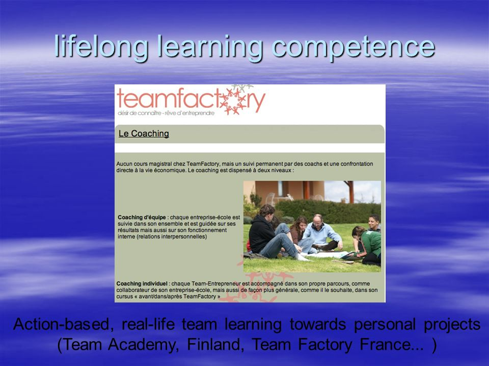 lifelong learning competence Action-based, real-life team learning towards personal projects (Team Academy, Finland, Team Factory France... )