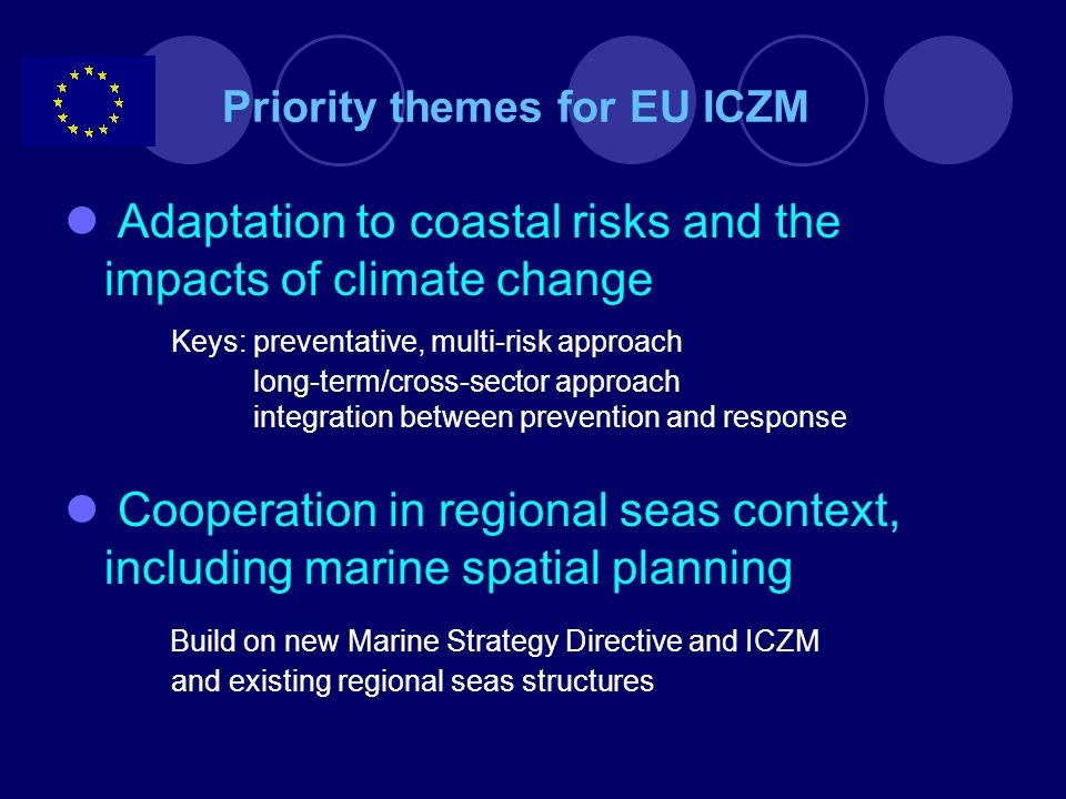 Outlook for implementation Mainstreaming of ICZM and Maritime Policy Blue Paper and action plan proposed by the Commission (October 2007) Guidance for national maritime policies Collective learning Stakeholder consultation structures and networking Research strategy .