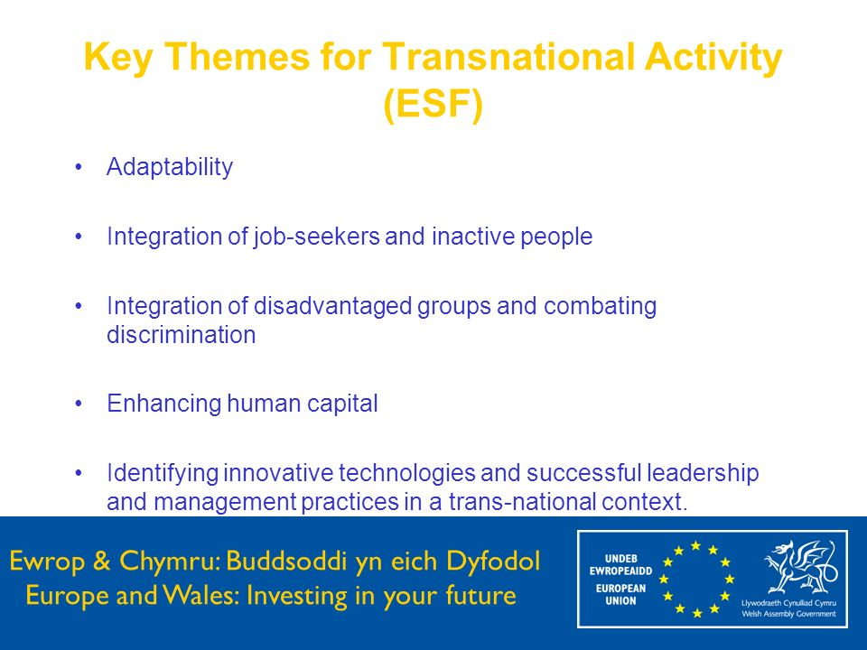 Ewrop & Chymru: Buddsoddi yn eich Dyfodol Europe and Wales: Investing in your future Key Themes for Transnational Activity (ESF) Adaptability Integrat