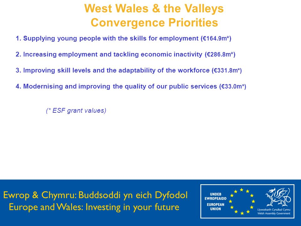 Ewrop & Chymru: Buddsoddi yn eich Dyfodol Europe and Wales: Investing in your future West Wales & the Valleys Convergence Priorities 1. Supplying youn
