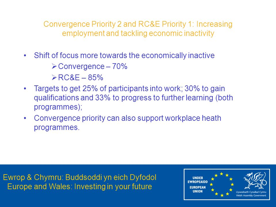 Ewrop & Chymru: Buddsoddi yn eich Dyfodol Europe and Wales: Investing in your future Convergence Priority 2 and RC&E Priority 1: Increasing employment