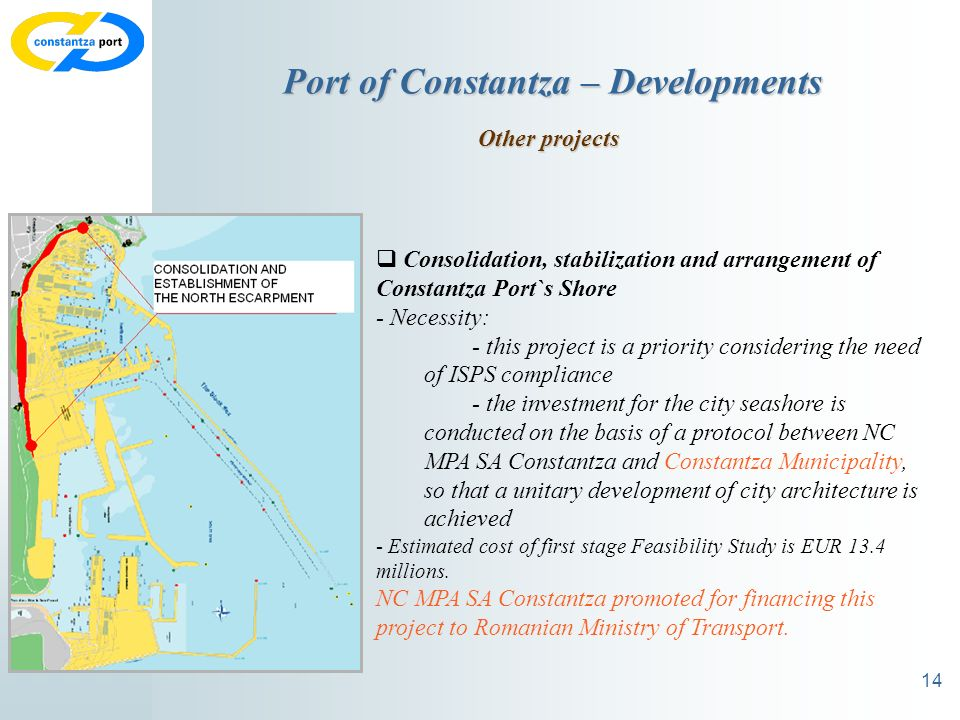 14 Port of Constantza – Developments Other projects Consolidation, stabilization and arrangement of Constantza Port`s Shore - Necessity: - this project is a priority considering the need of ISPS compliance - the investment for the city seashore is conducted on the basis of a protocol between NC MPA SA Constantza and Constantza Municipality, so that a unitary development of city architecture is achieved - Estimated cost of first stage Feasibility Study is EUR 13.4 millions.
