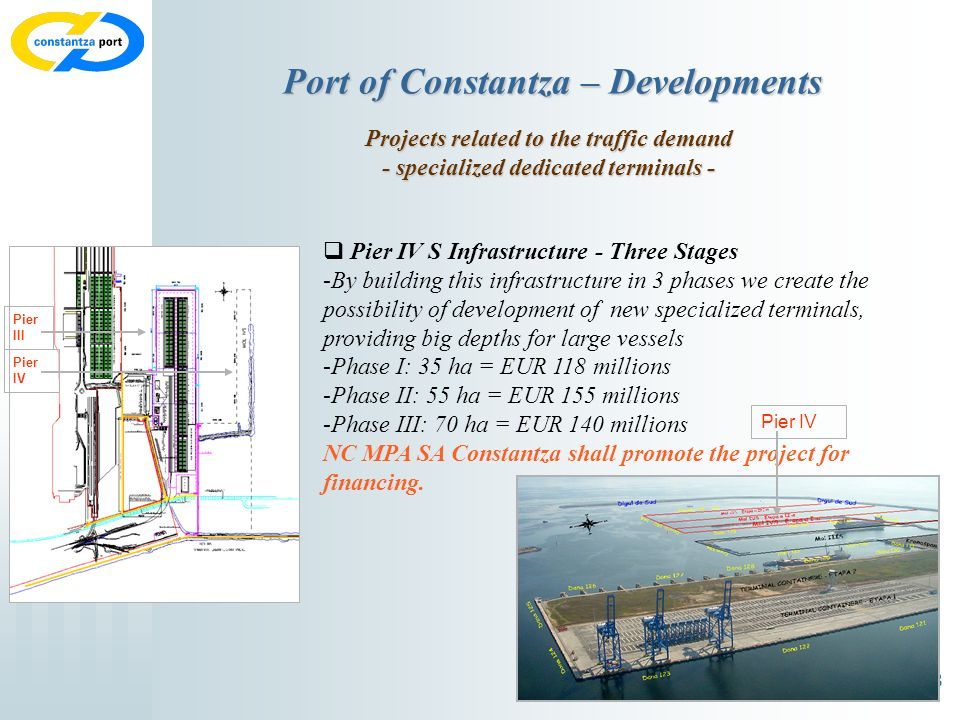 8 Port of Constantza – Developments Projects related to the traffic demand - specialized dedicated terminals - Pier IV S Infrastructure - Three Stages