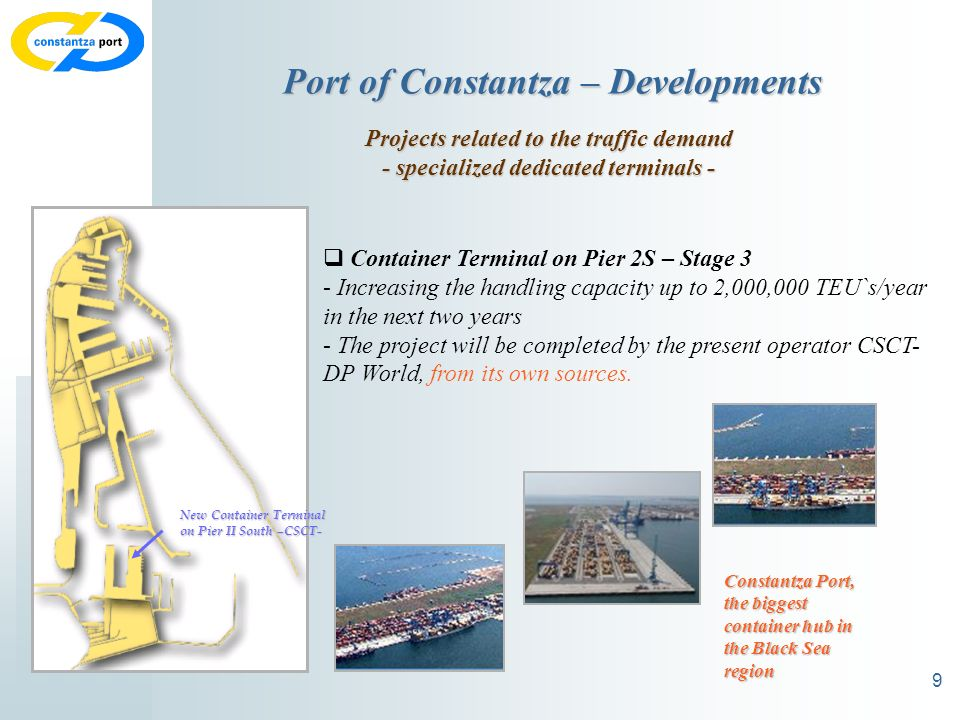 9 Port of Constantza – Developments Projects related to the traffic demand - specialized dedicated terminals - Container Terminal on Pier 2S – Stage 3 - Increasing the handling capacity up to 2,000,000 TEU`s/year in the next two years - The project will be completed by the present operator CSCT- DP World, from its own sources.