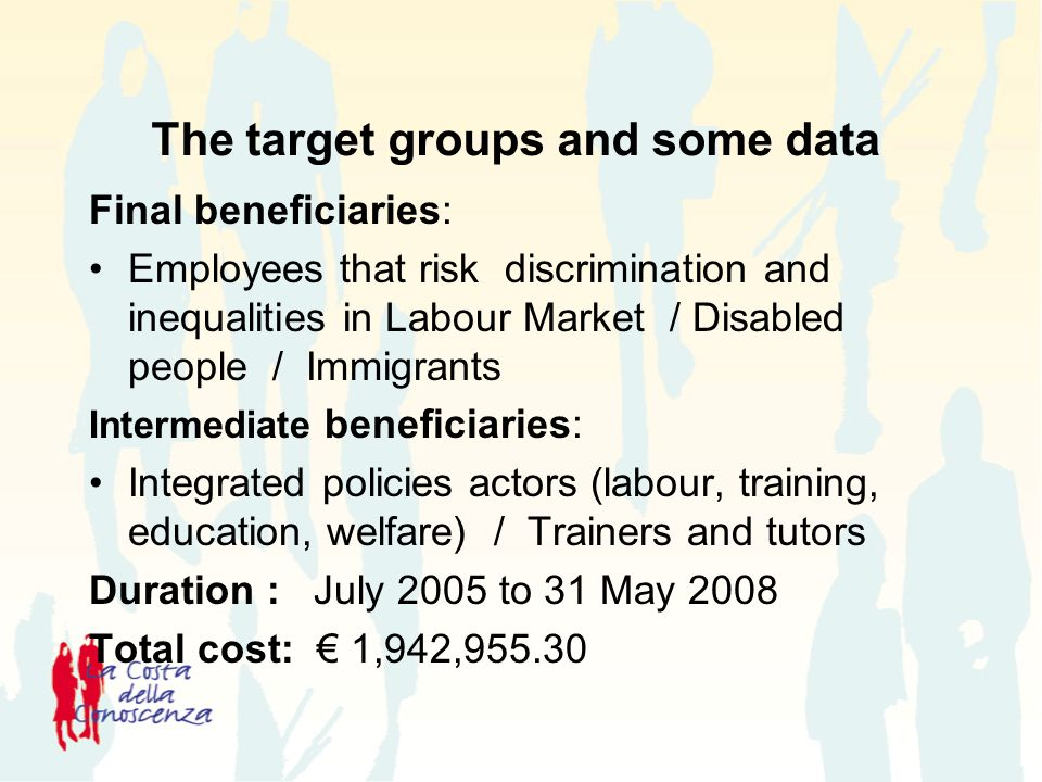 The target groups and some data Final beneficiaries: Employees that risk discrimination and inequalities in Labour Market / Disabled people / Immigrants Intermediate beneficiaries: Integrated policies actors (labour, training, education, welfare) / Trainers and tutors Duration : July 2005 to 31 May 2008 Total cost: 1,942,955.30
