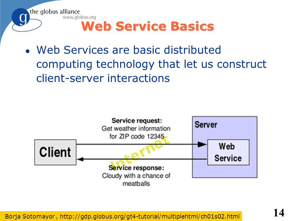 14 Web Service Basics l Web Services are basic distributed computing technology that let us construct client-server interactions Borja Sotomayor, http