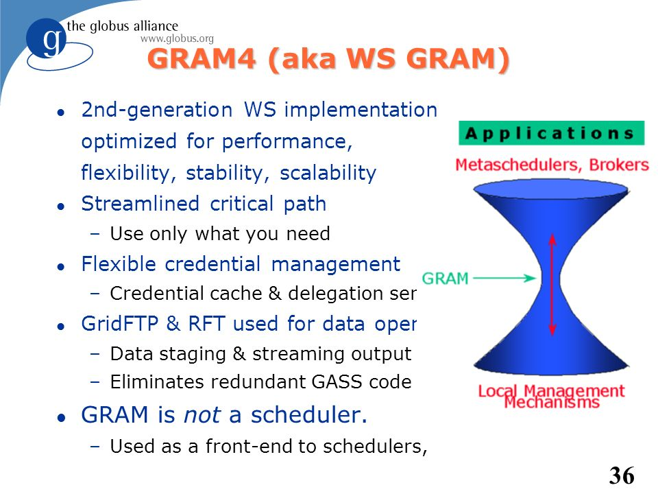 36 GRAM4 (aka WS GRAM) l 2nd-generation WS implementation optimized for performance, flexibility, stability, scalability l Streamlined critical path –