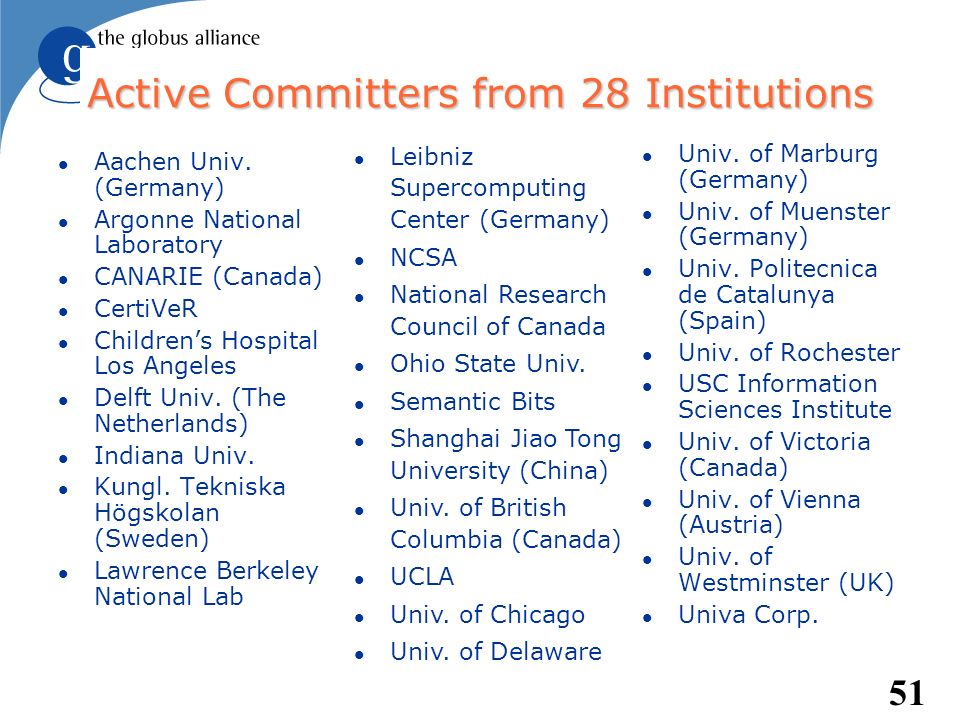 51 Active Committers from 28 Institutions l Aachen Univ. (Germany) l Argonne National Laboratory l CANARIE (Canada) l CertiVeR l Childrens Hospital Lo