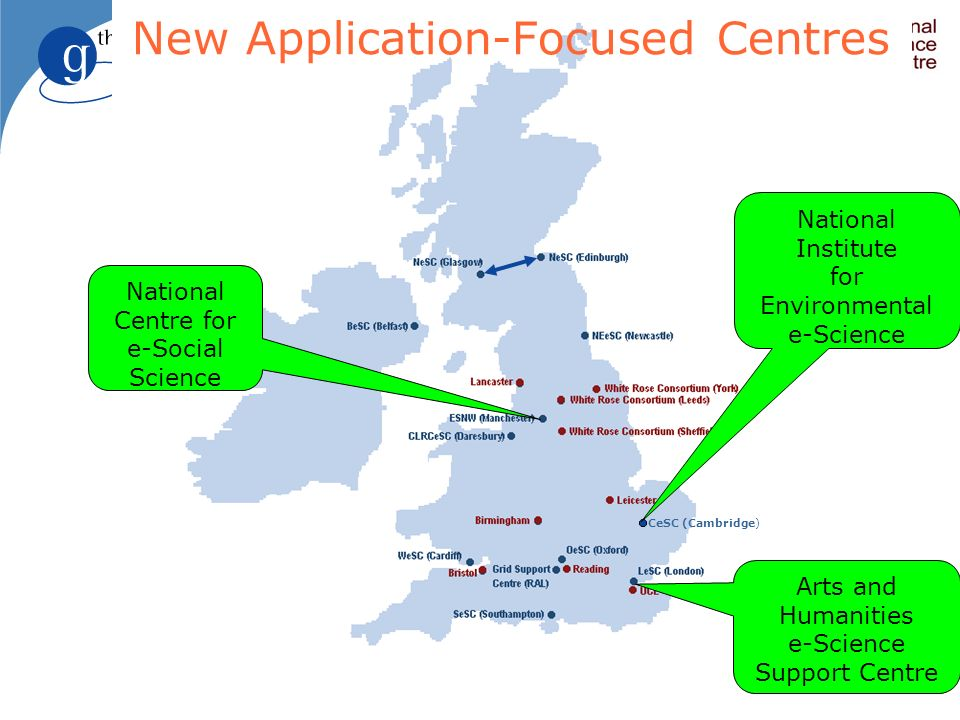 CeSC (Cambridge) New Application-Focused Centres Arts and Humanities e-Science Support Centre National Centre for e-Social Science National Institute for Environmental e-Science