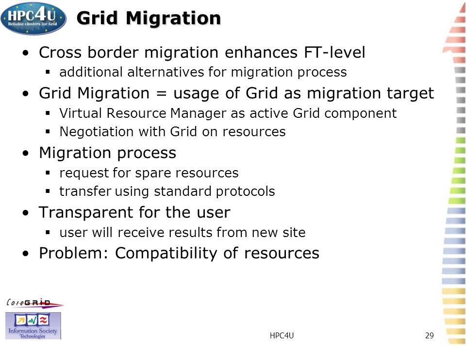 HPC4U29 Grid Migration Cross border migration enhances FT-level additional alternatives for migration process Grid Migration = usage of Grid as migrat