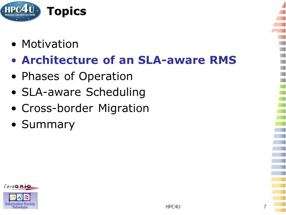HPC4U7 Topics Motivation Architecture of an SLA-aware RMS Phases of Operation SLA-aware Scheduling Cross-border Migration Summary