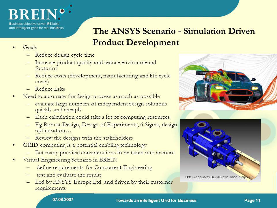The ANSYS Scenario - Simulation Driven Product Development Goals –Reduce design cycle time –Increase product quality and reduce environmental footprin