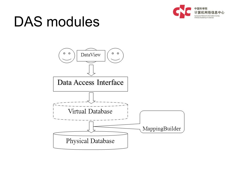 DAS modules Data Access Interface Virtual Database Physical Database MappingBuilder DataView