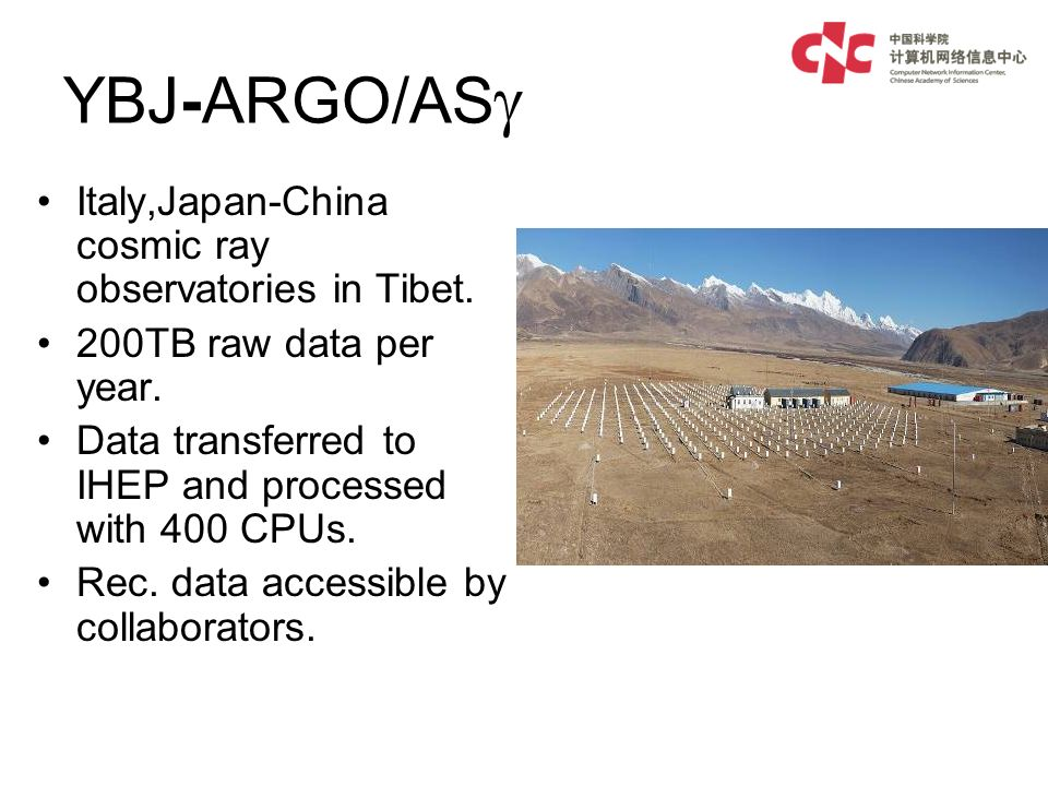 YBJ-ARGO/AS Italy,Japan-China cosmic ray observatories in Tibet.