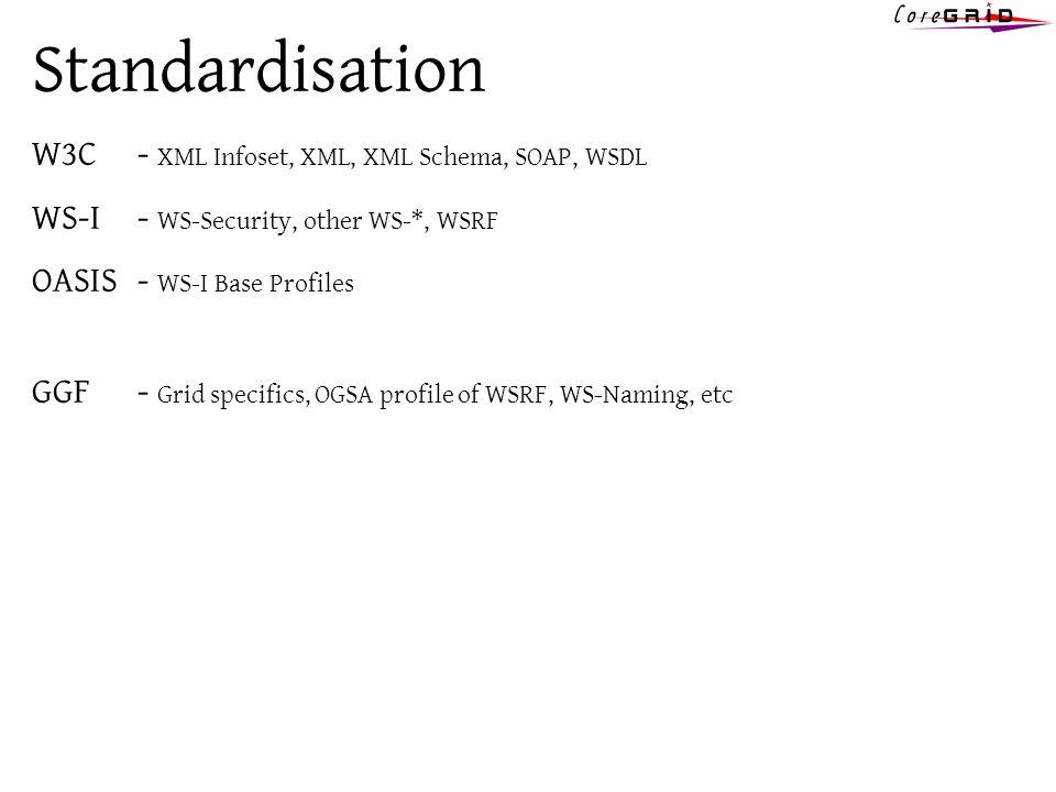Standardisation W3C - XML Infoset, XML, XML Schema, SOAP, WSDL WS-I- WS-Security, other WS-*, WSRF OASIS - WS-I Base Profiles GGF- Grid specifics, OGSA profile of WSRF, WS-Naming, etc