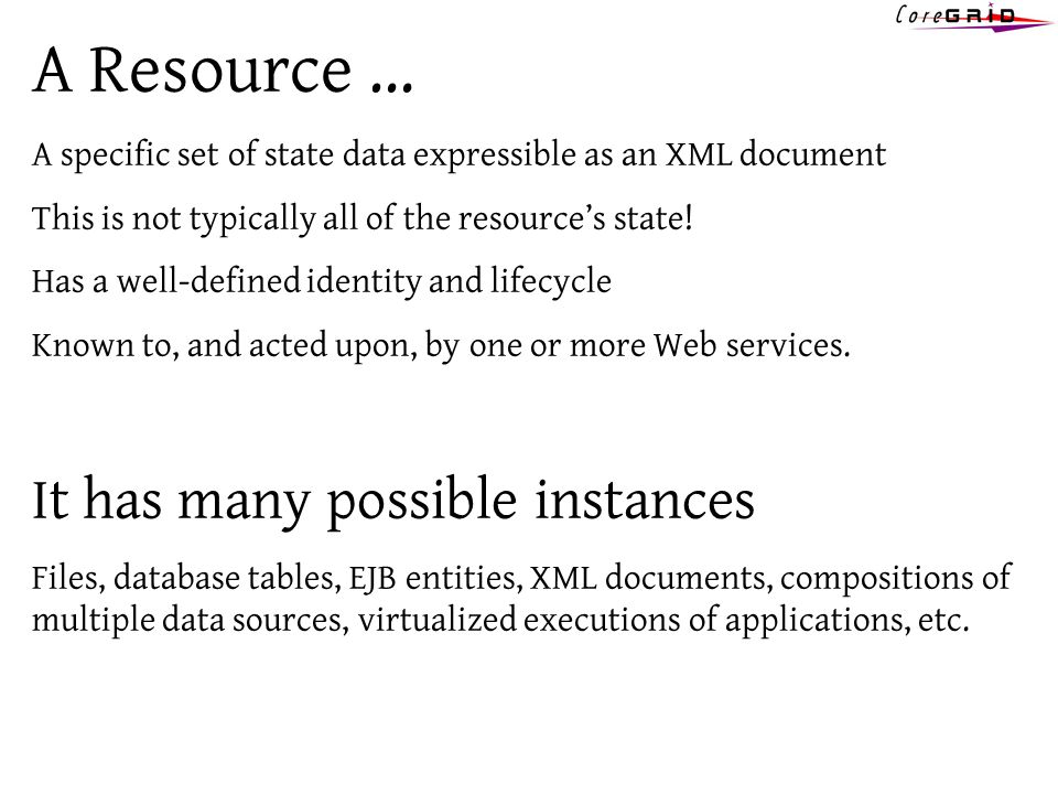 A Resource … A specific set of state data expressible as an XML document This is not typically all of the resources state! Has a well-defined identity
