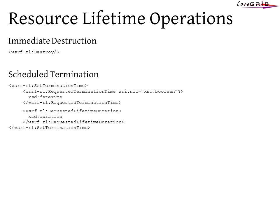 Resource Lifetime Operations Immediate Destruction Scheduled Termination xsd:dateTime xsd:duration
