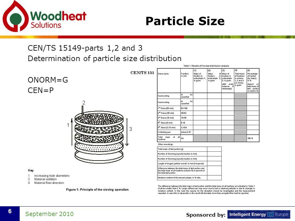 Sponsored by: September 2010 7 Bulk Density CEN/TS 15103 Determination of bulk density