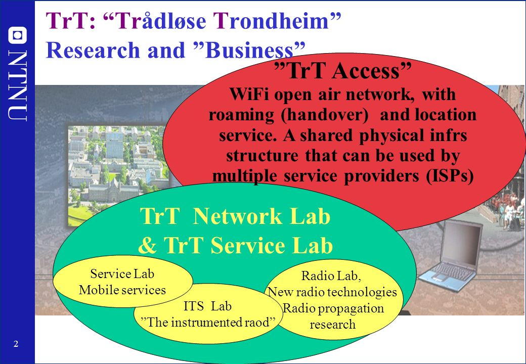 2 TrT: Trådløse Trondheim Research and Business Radio Lab, New radio technologies Radio propagation research ITS Lab The instrumented raod TrT Access WiFi open air network, with roaming (handover) and location service.